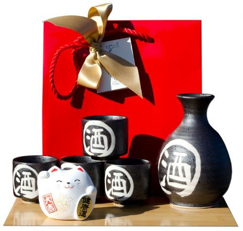 Gift bag  white cat & Japanese black traditional Sake set with white calligraphy